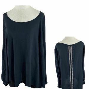 TORRID Blouse BLACK Beaded Long Sleeves Size 2X